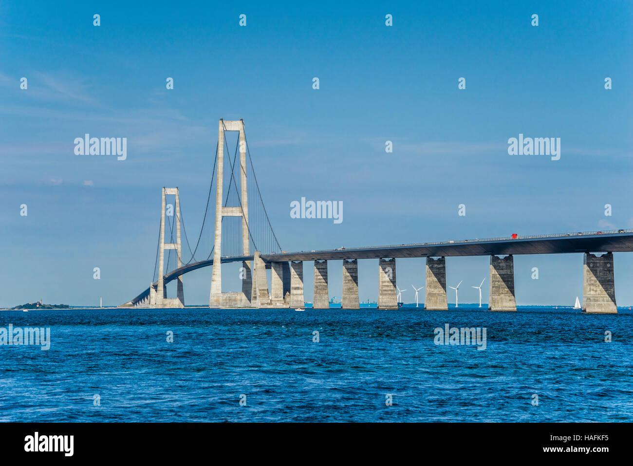 Denmark, Great Belt Bridge, connecting the islands of Funen and Zealand across the Great Belt - Stock Image
