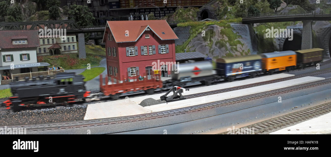 Panoramic aerial view of miniature model of the steam train Stock Photo
