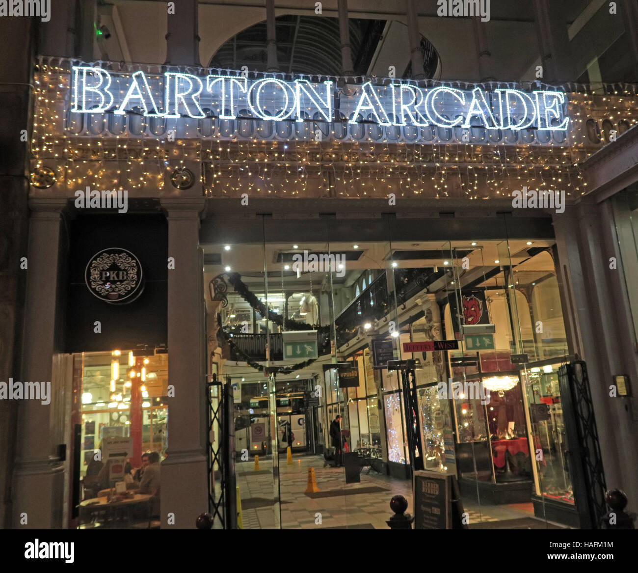 Barton Arcade,Manchester retail shopping, Winter,England, UK - Stock Image