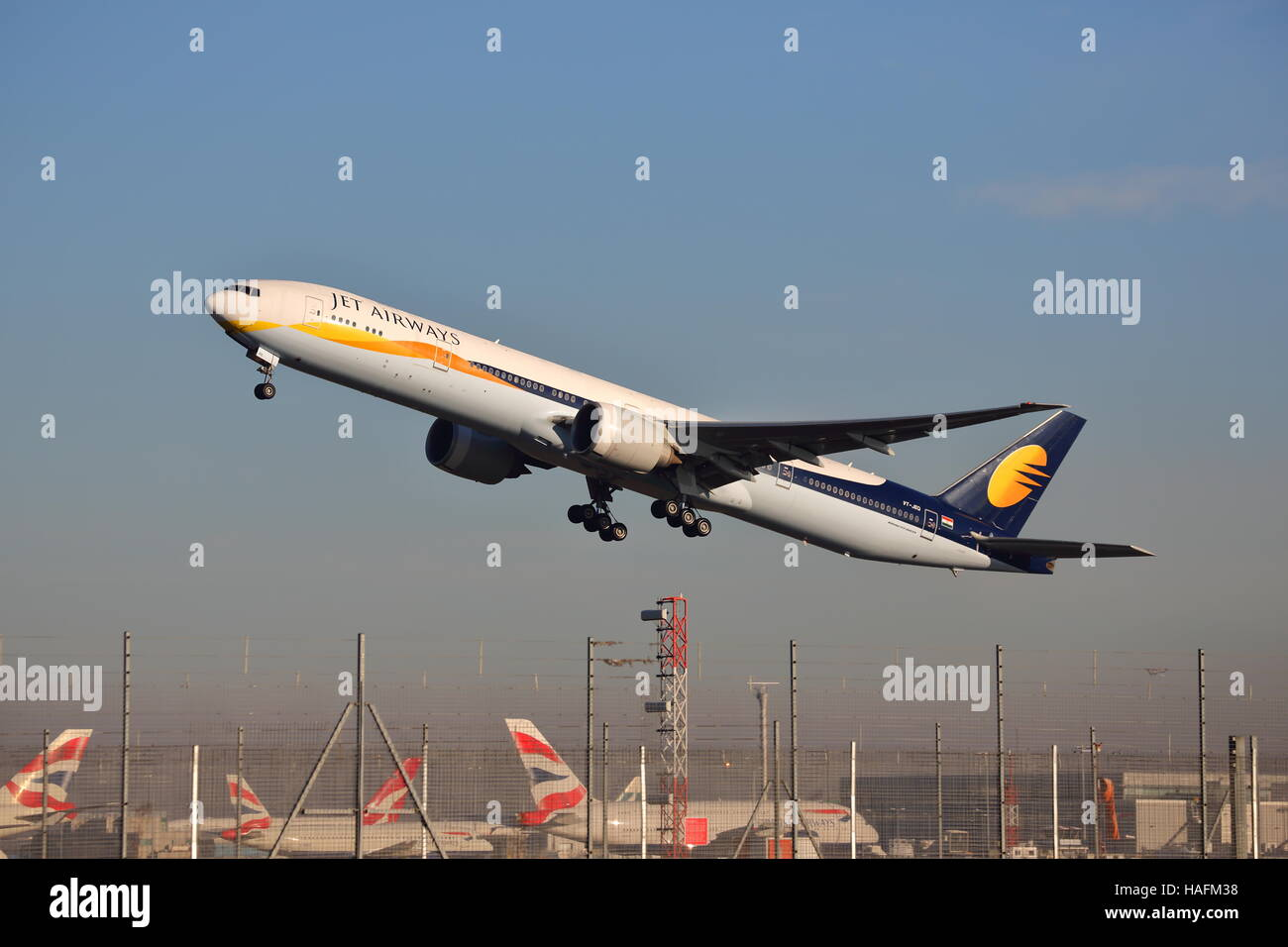 Jet Airways Boeing 777-35RER VT-JEH taking off at Heathrow Airport, London, UK Stock Photo