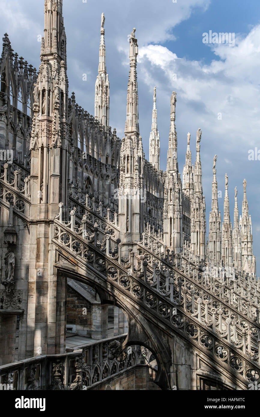 Spires and flying buttresses, Milan Cathedral (Duomo di Milano), Milan, Italy - Stock Image