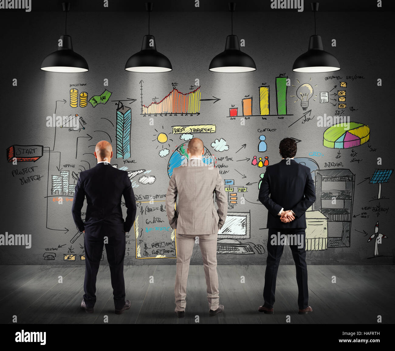 Business team watching a new complex project - Stock Image