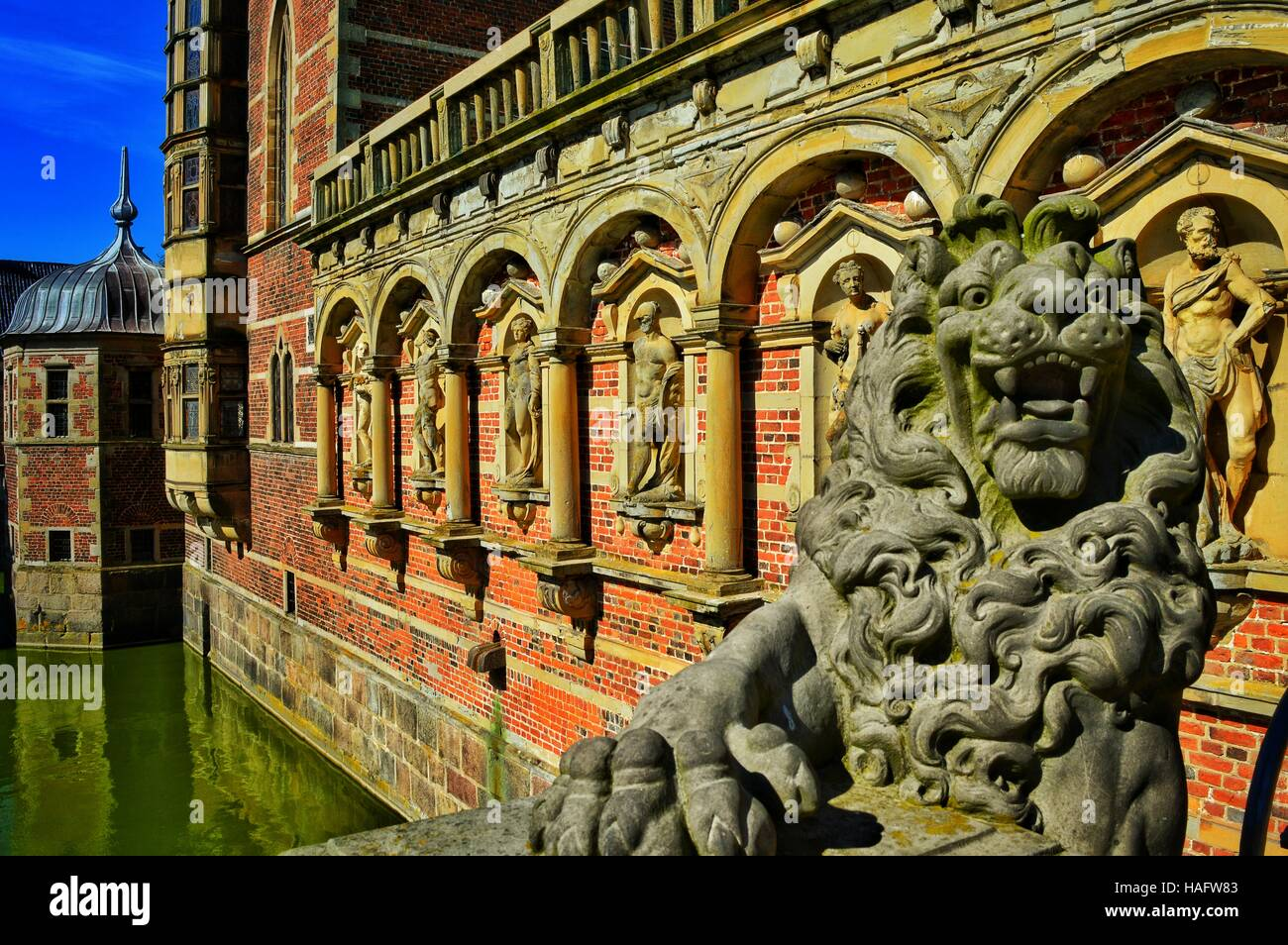 Entrance to Frederiksborg Castle, Hillerod, Denmark - Stock Image