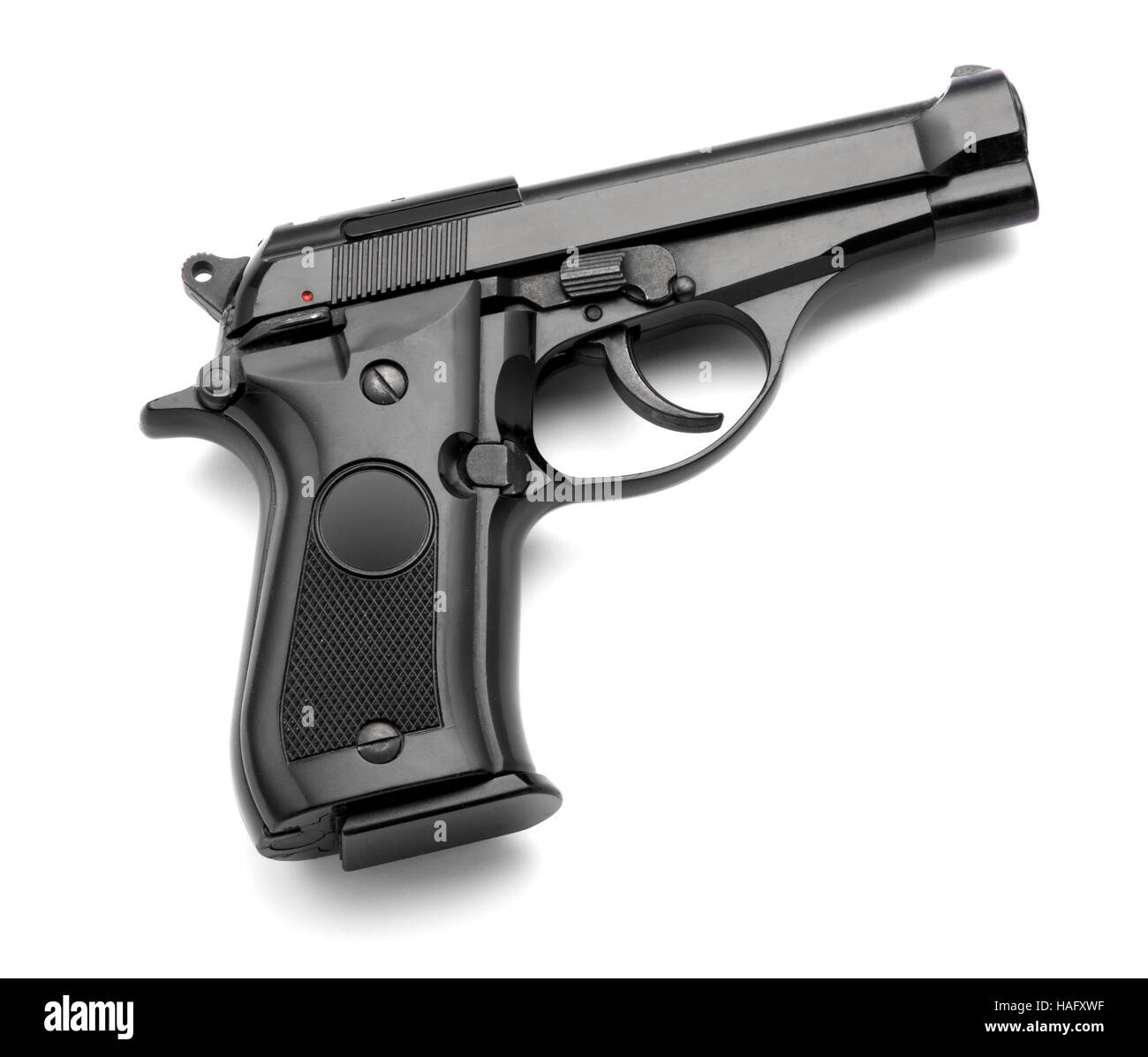 Black automatic handgun on a white background with copy space - Stock Image