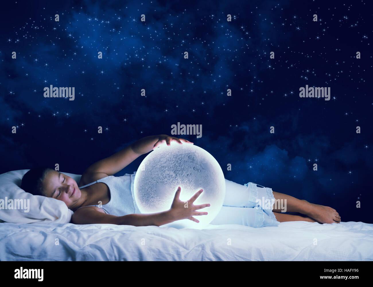 Girl dreaming before sleep - Stock Image