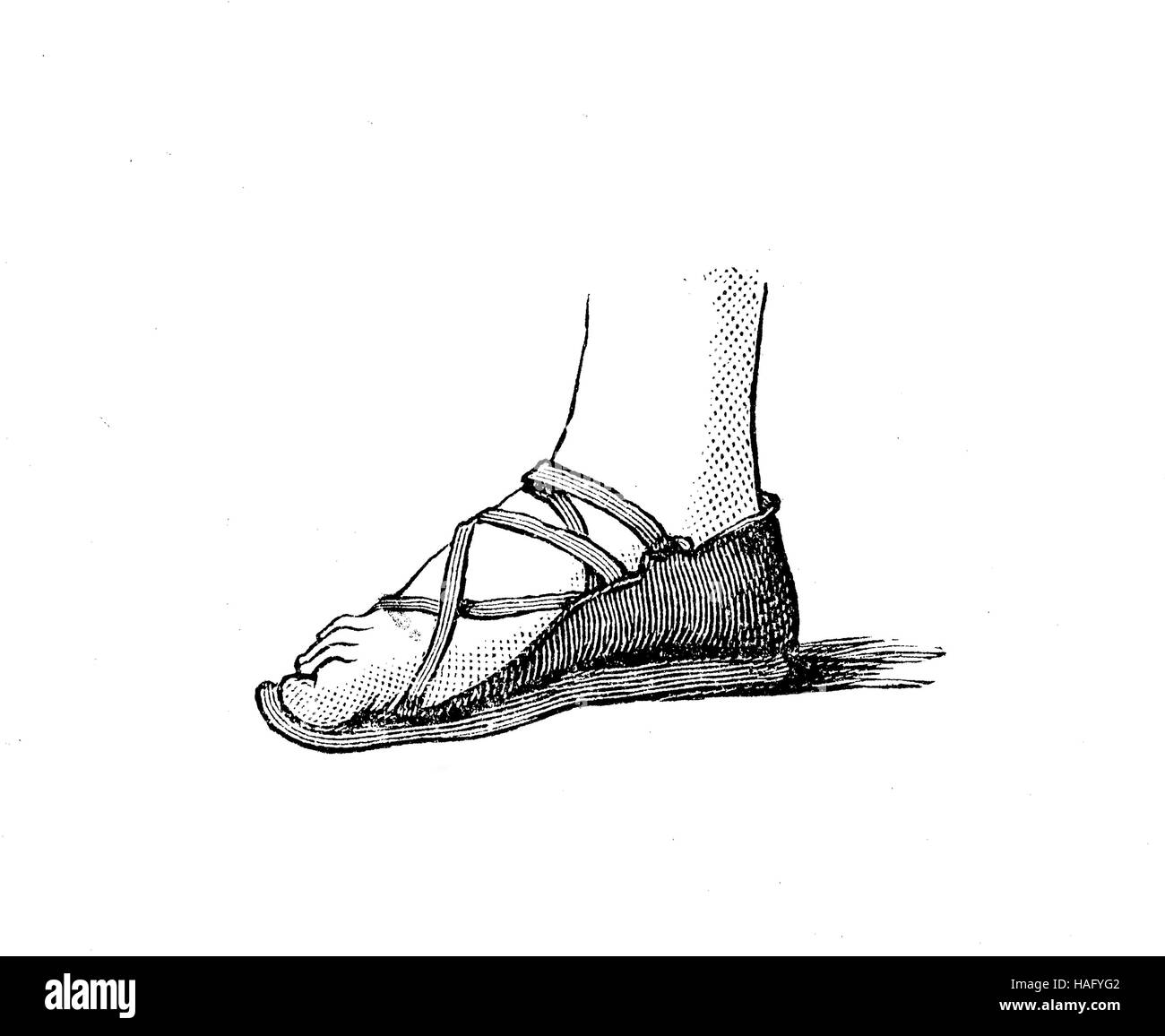 shoe fashion of the past, an Assyrian shoe, 25. century BC, woodcut from the year 1880 - Stock Image