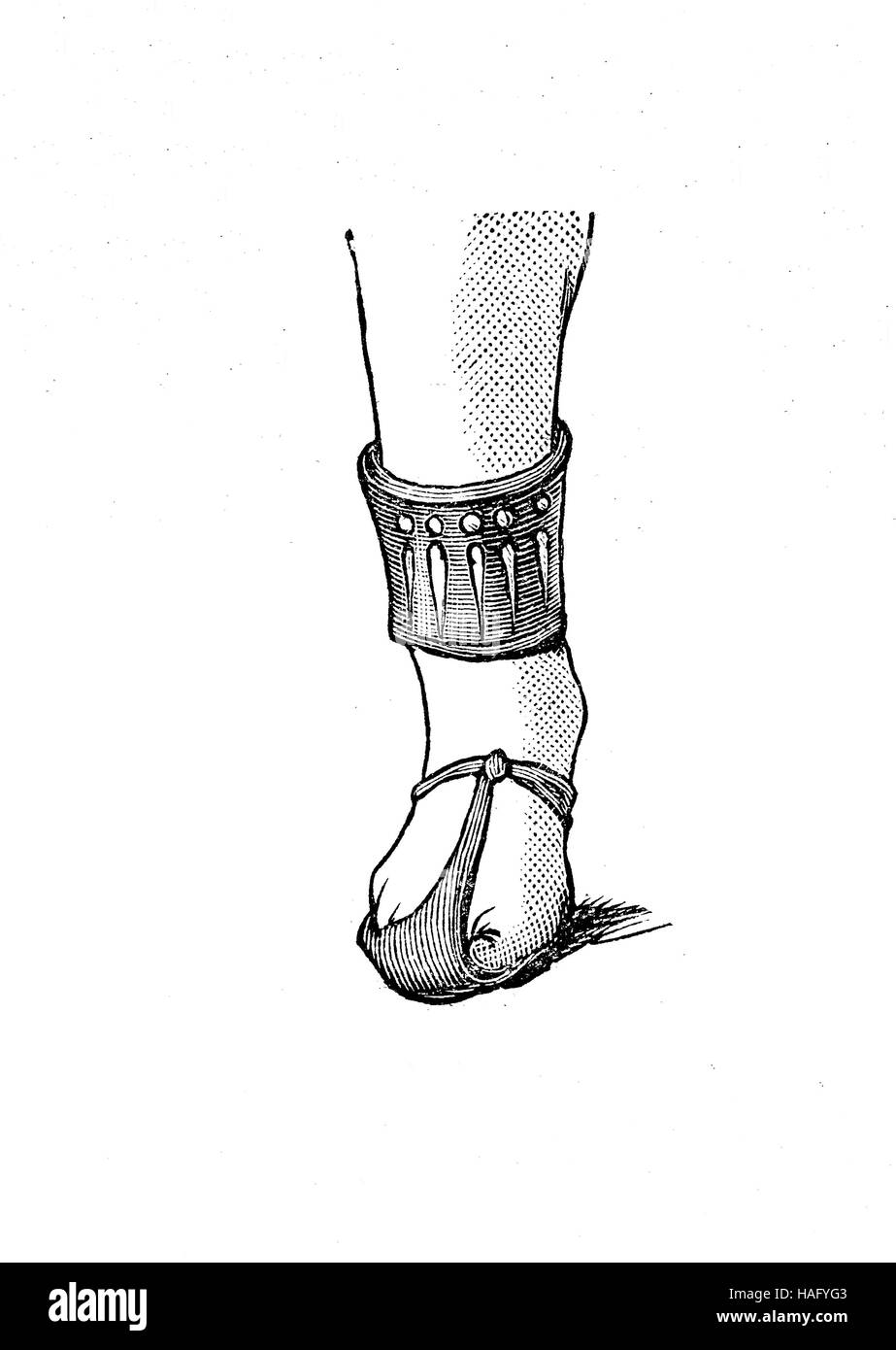 shoe fashion of the past, an old egypt shoe, woodcut from the year 1880 - Stock Image