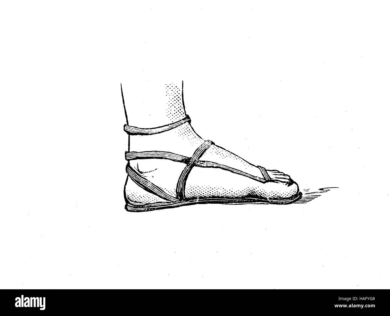 shoe fashion of the past, an ancient greek sandal, shoe, Greece, woodcut from the year 1880 - Stock Image