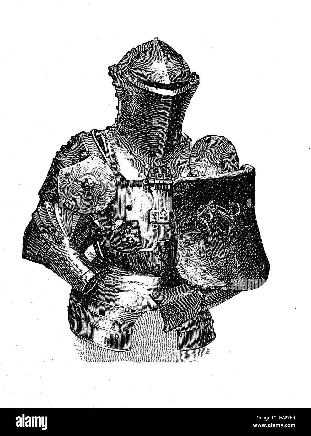 knights equipment, armor, at a tournament, middle of the 12th century, woodcut from the year 1880 - Stock Image