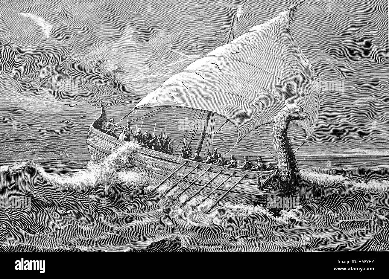 Ancient Greek merchant ship, 350 BC, woodcut from the year 1880 - Stock Image