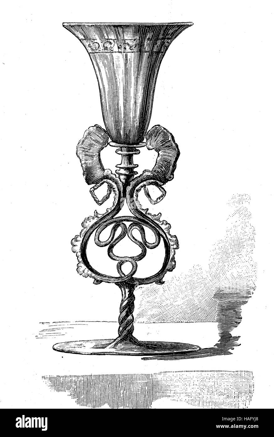 Drinkware, a cup made of venetian glass, Venice, Italy, 16. century, woodcut from the year 1880 - Stock Image
