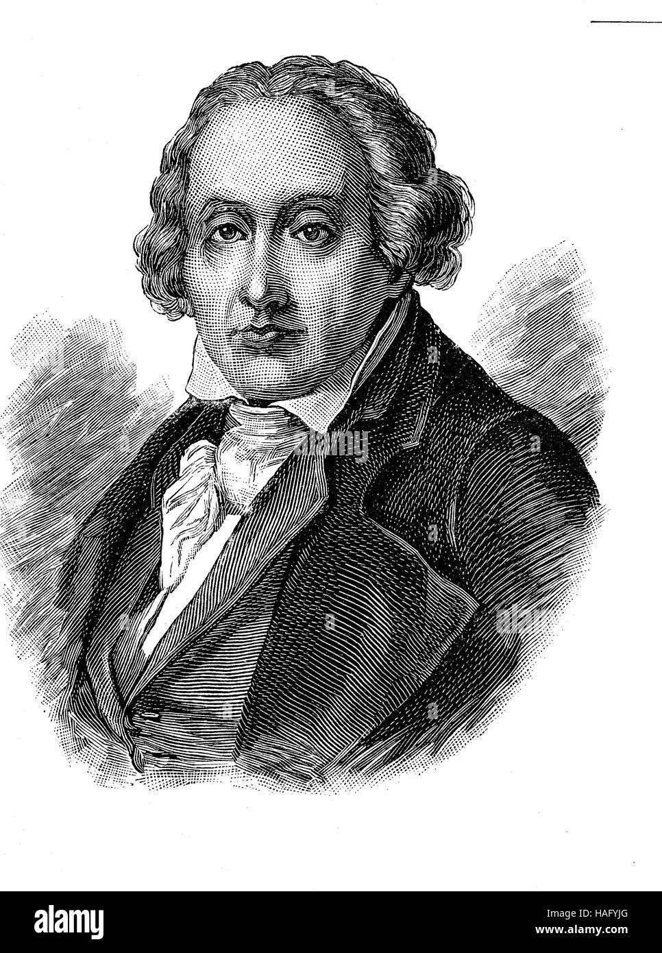 Joseph Marie Charles Jacquard, 7 July 1752 - 7 August 1834, was a French weaver and merchant, woodcut from the year - Stock Image