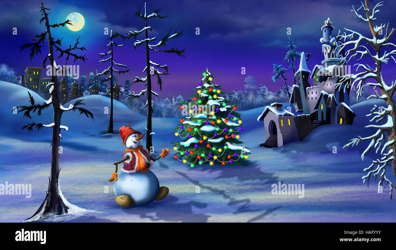 Snowman And Christmas Tree Near A Magic Castle In A Fairy Tale
