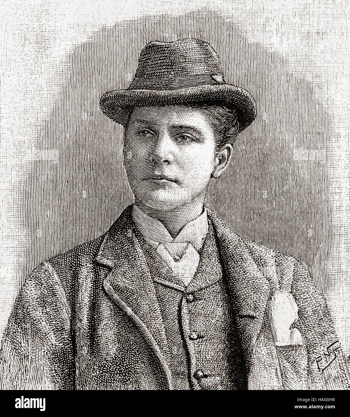William Terriss, 1847 – 1897, born William Charles James Lewin.  English actor. Seen here aged 42.  From The Strand Stock Photo