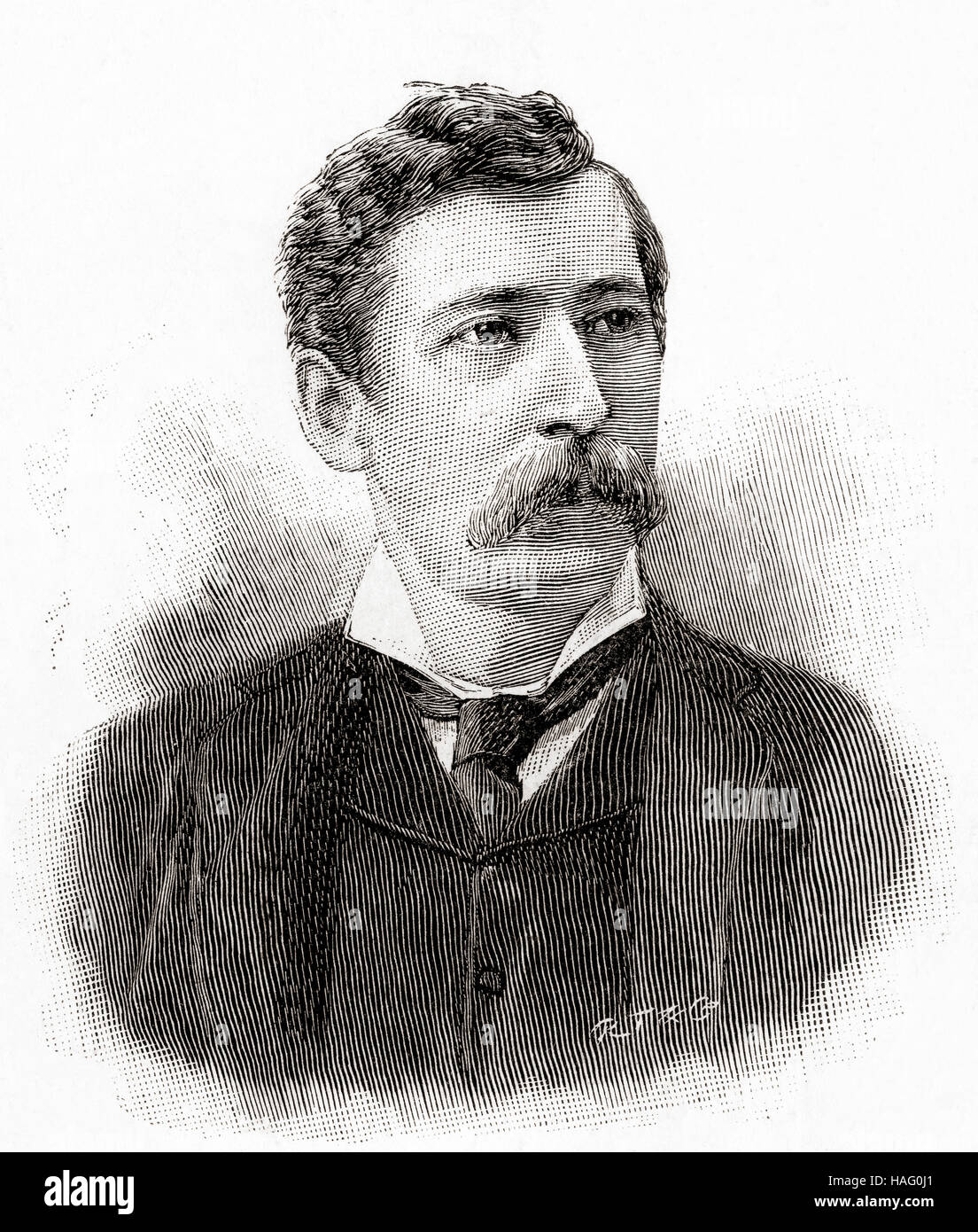 Henry Alfred Pettitt, 1848 – 1893.  British actor and dramatist.  Seen here aged 38.  From The Strand Magazine, - Stock Image