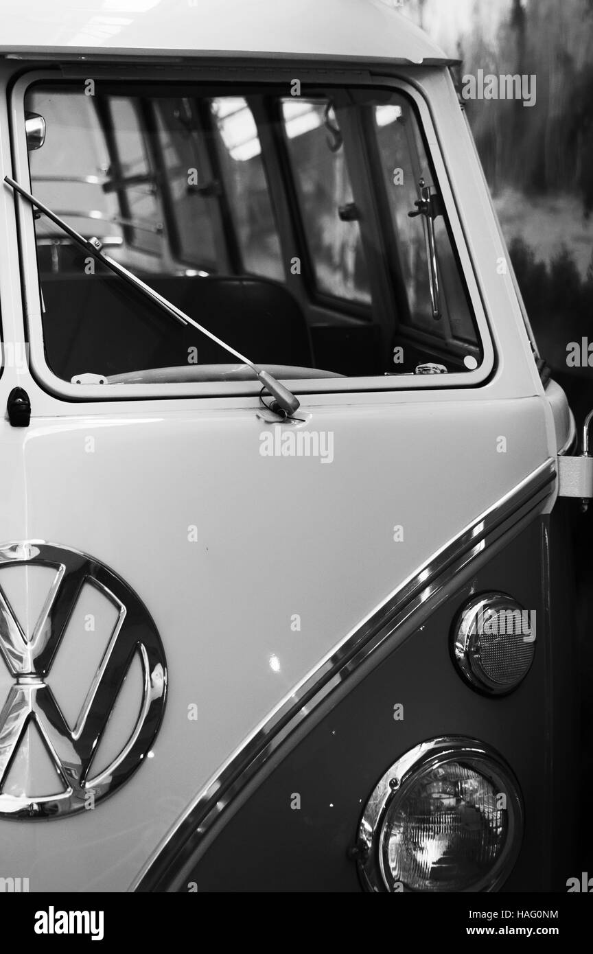Photo Volkswagen Transporter, Year 1950-1975, Minibus 9 seats be, VW,   photo auto headlight, Stock Photo