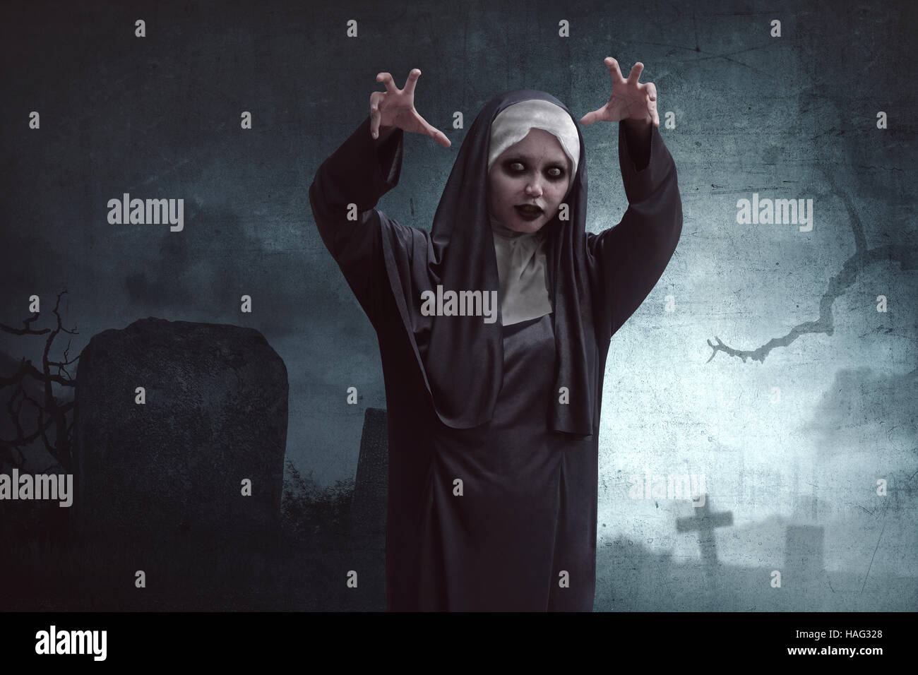 scary asian nun standing in cemetery with dark cloud stock photo