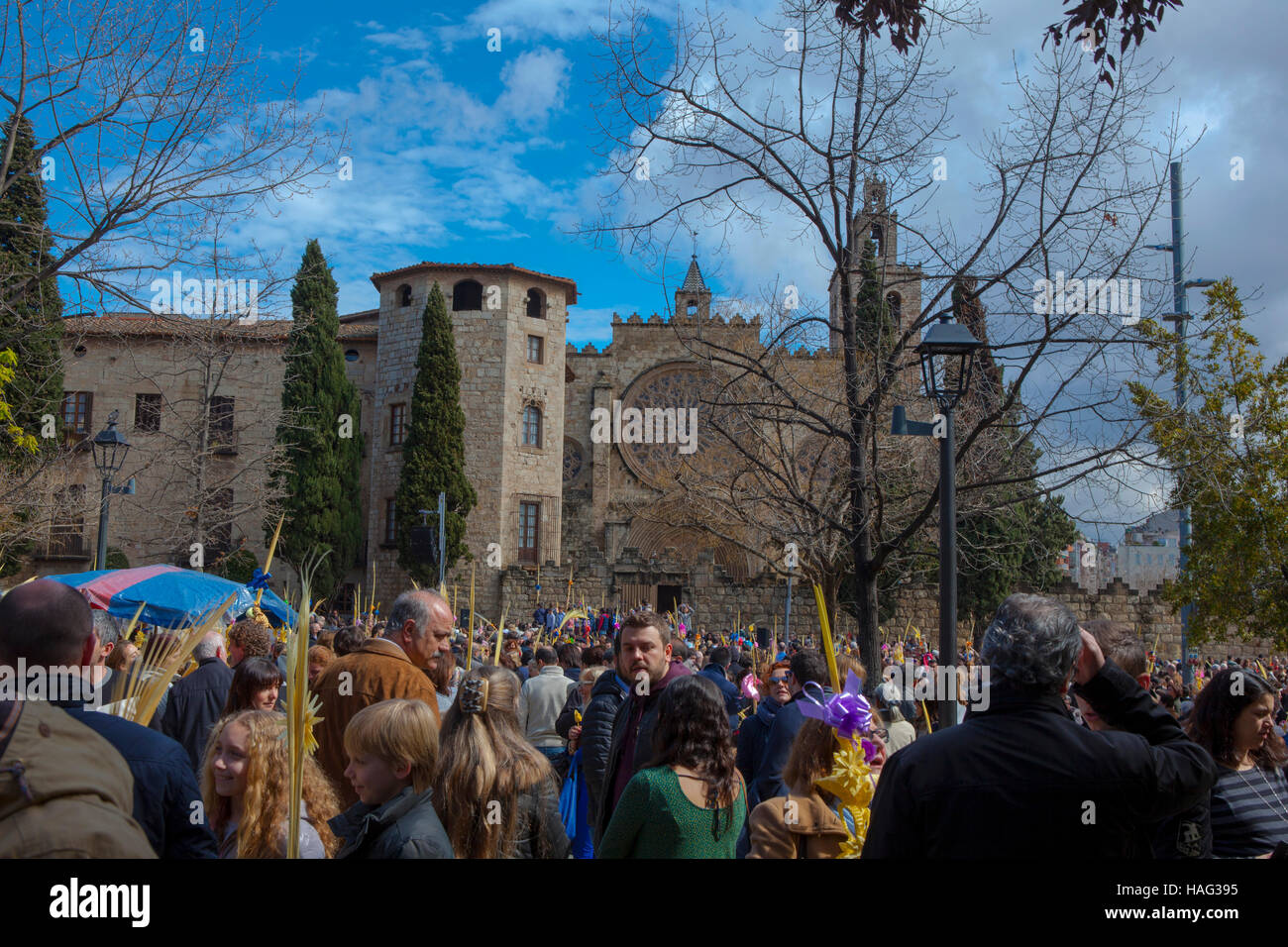 Palm Sunday, Traditonal Easter Celebrations In Placa Du0027Octavia, Beside  Monestir Sant Cugat