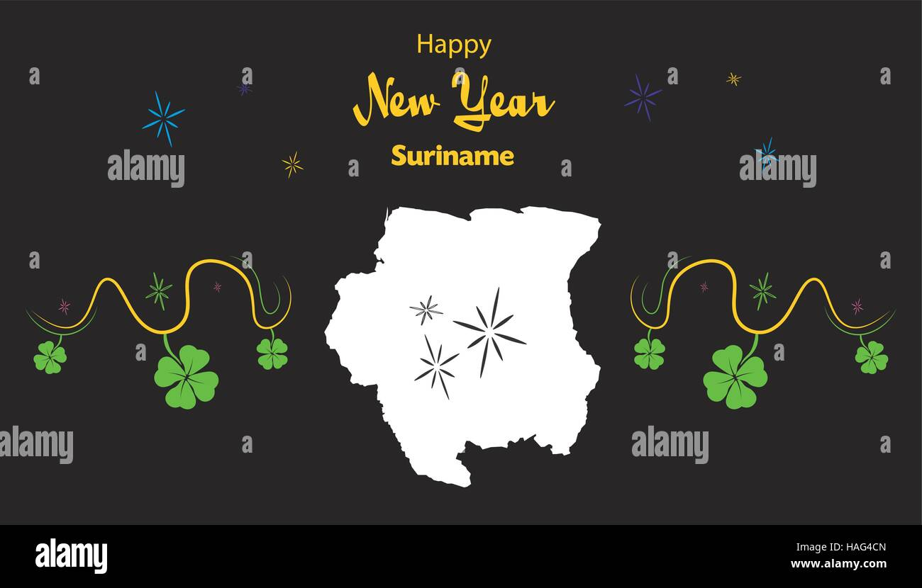 happy new year illustration theme with map of xxxx