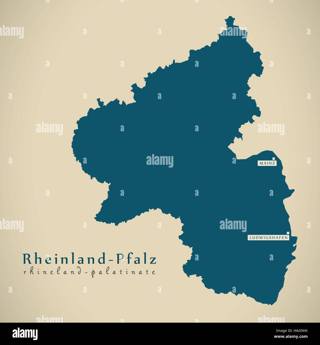 Modern Map Rheinland Pfalz De Germany Stock Photo 126974477 Alamy