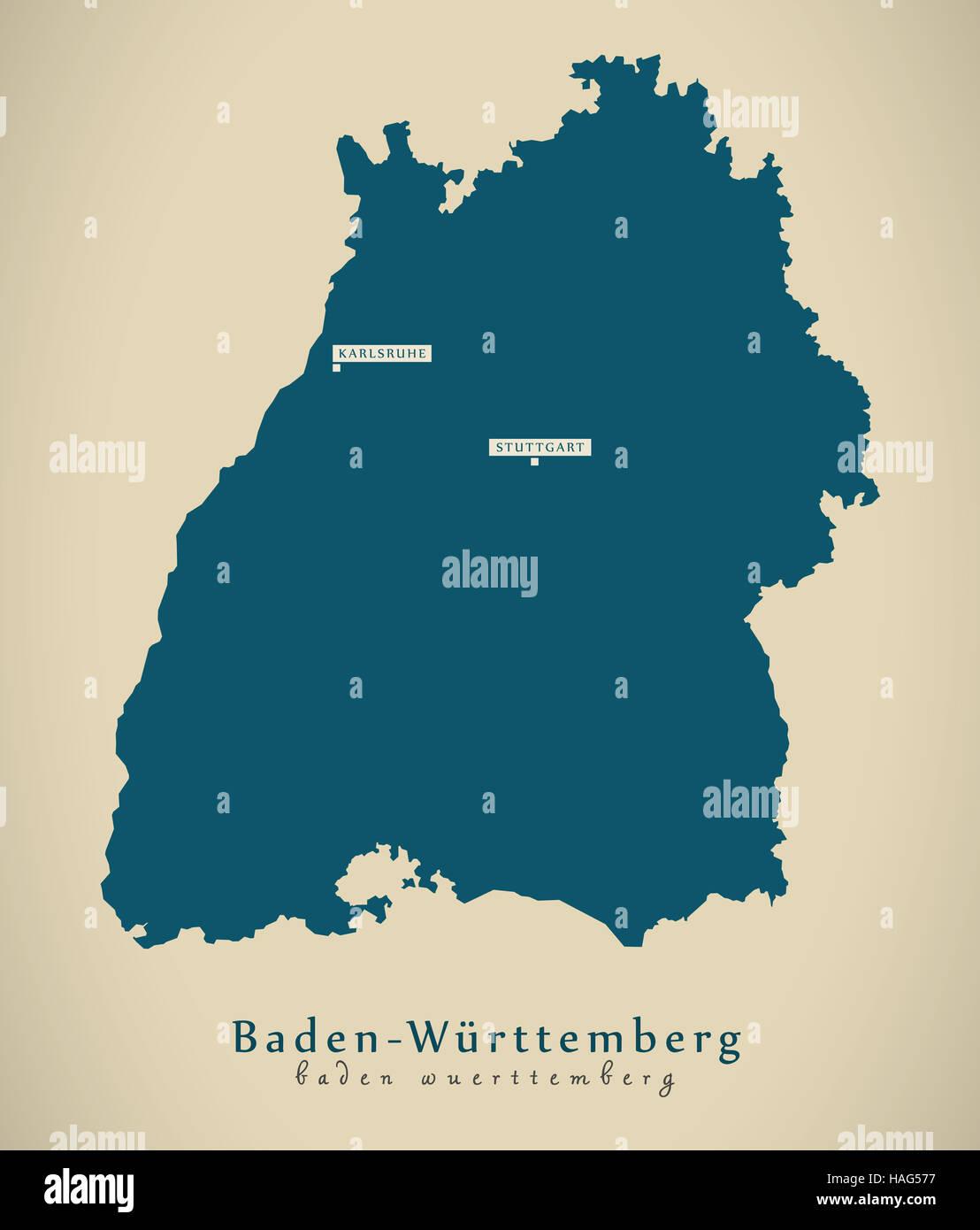 Map Of Germany Karlsruhe Baden.Modern Map Baden Wurttemberg De Germany Stock Photo 126974491 Alamy