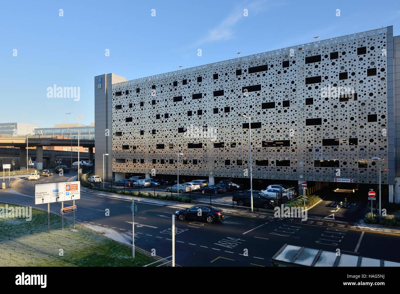 Hydro multi-storey car park in Finnieston, Glasgow, Scotland, UK - Stock Image