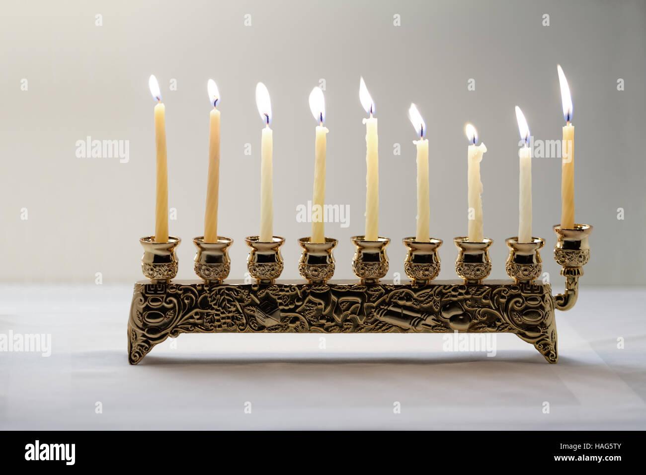 The Symbols Of Hanukkah Nine Branched Mehorah Hanukiah Stock Photo