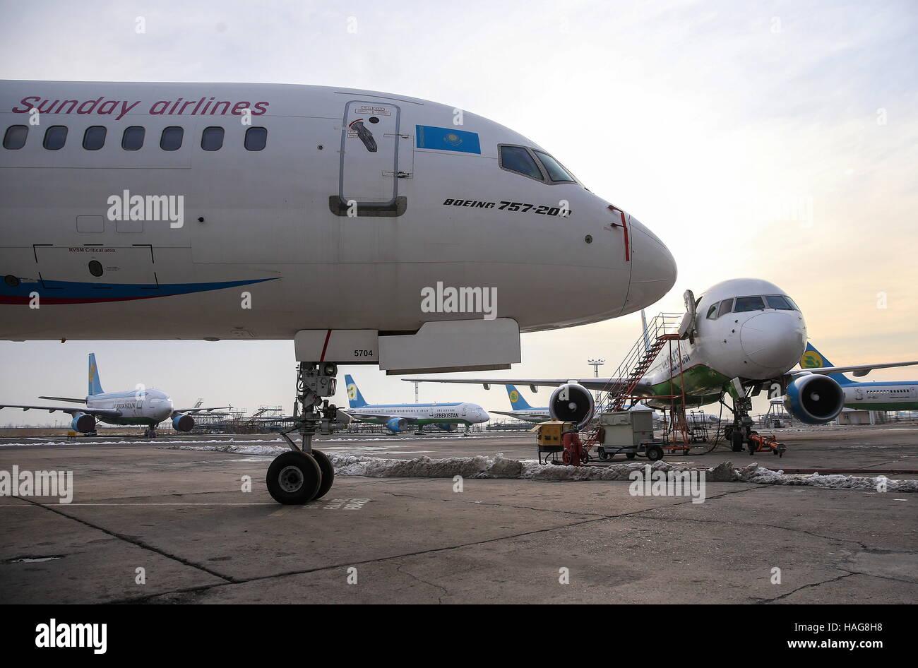 TASHKENT, UZBEKISTAN - NOVEMBER 30, 2016: A Boeing 757-200 passenger  aircraft