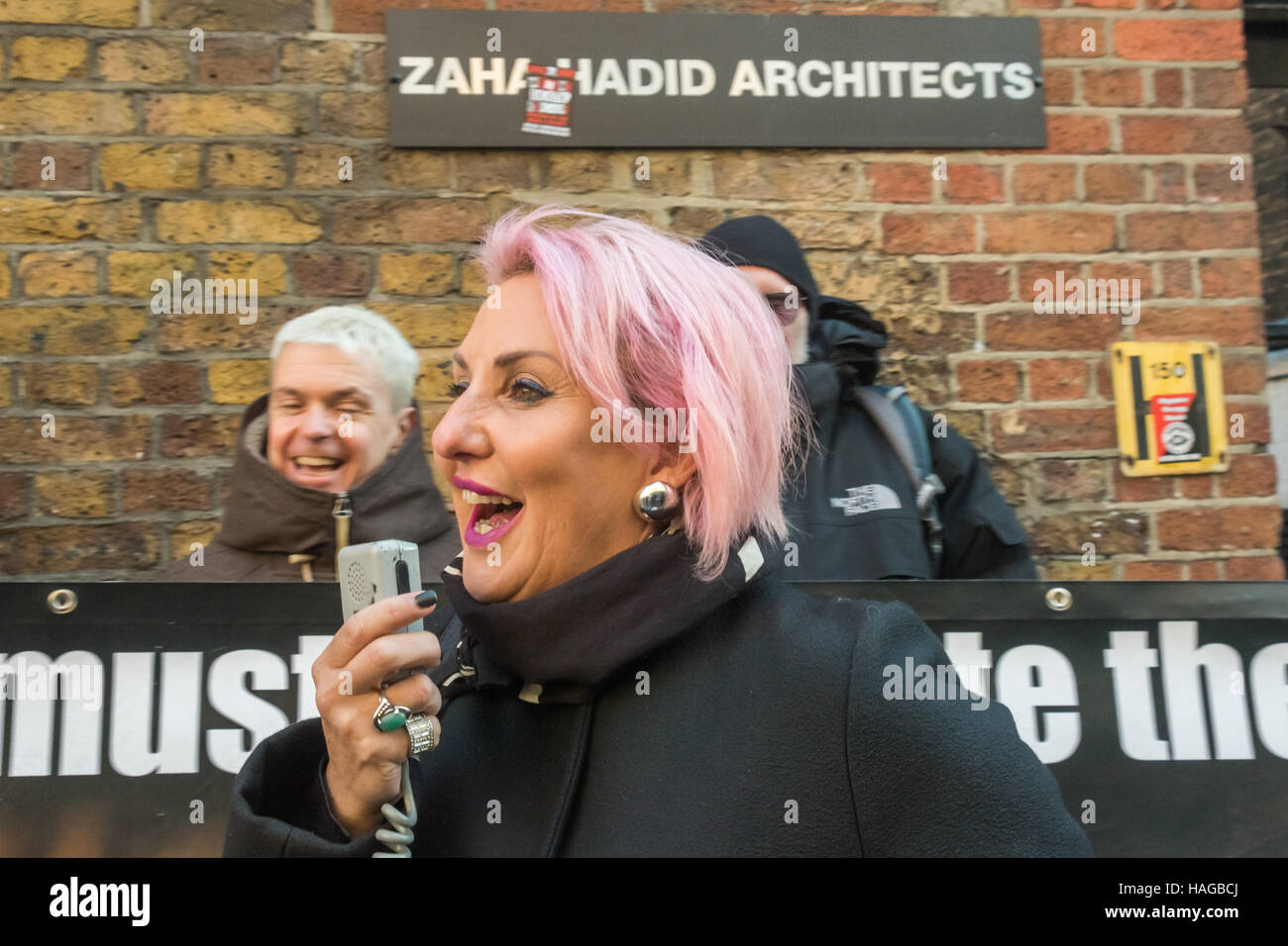 London, UK. 30th November 2016.  Lisa Mckenzie speaks at the protest by Class War and others outside the London - Stock Image