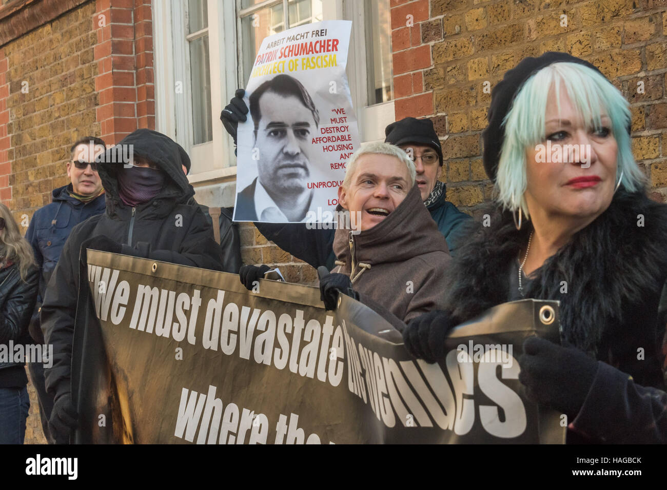 London, UK. 30th November 2016.  Class War and others protest outside the London offices of Zaha Hadid Architects - Stock Image