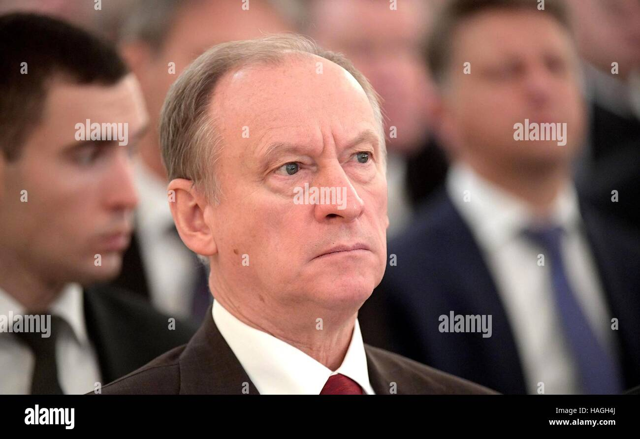 Moscow, Russia. 01st Dec, 2016. Secretary of the Russian Federation Security Council Nikolai Patrushev listens to - Stock Image