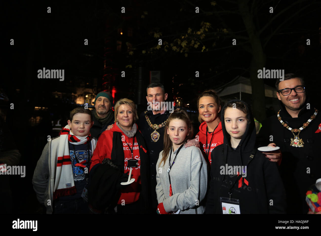 Lord Mayor Councilor Carl Austin-Behan and attendees at the vigil in Sackville Gardens,Gay Village, Manchester, - Stock Image