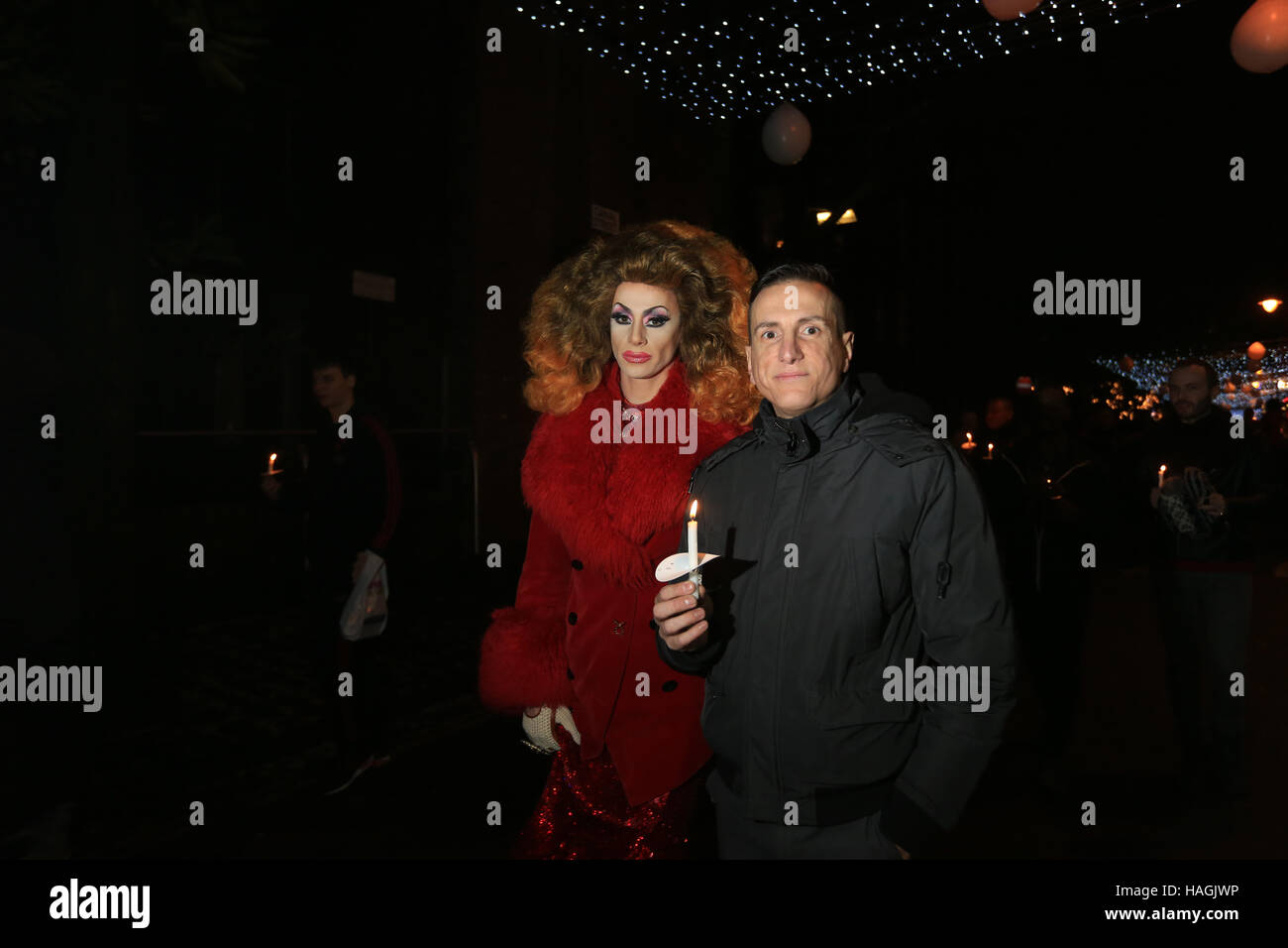 Divina De Campo joins candlelight procession for World Aids Day, Sackville Gardens,Gay Village, Manchester, UK, - Stock Image