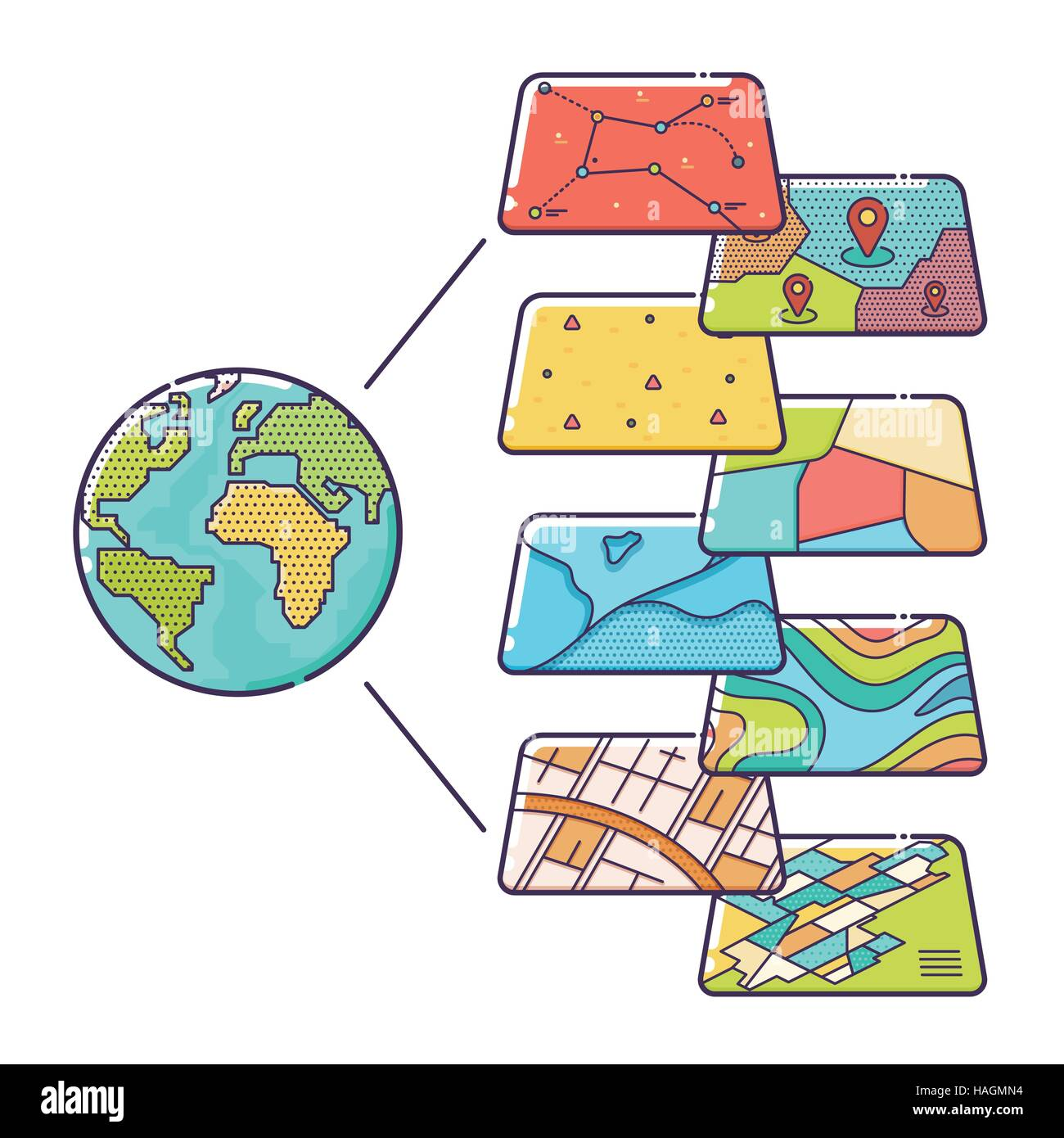 Vector Illustration of GIS Spatial Data Layers Concept for Business Analysis, Geographic Information System, Icons - Stock Image