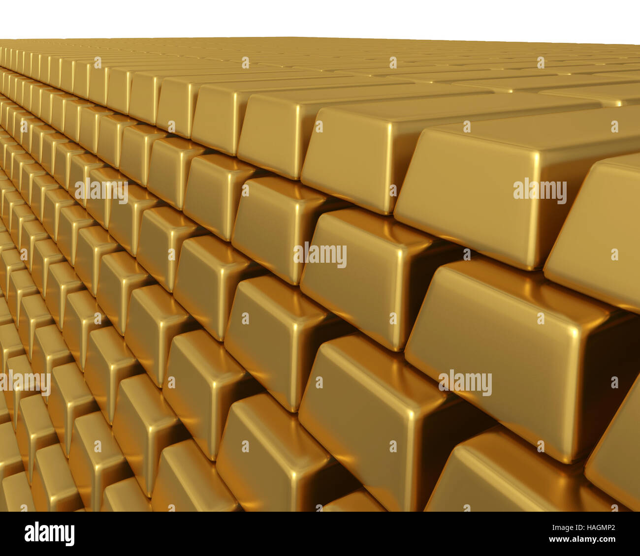 3D illustration of thousands of gold bullion bars piled high, representing enormous weath or assets. - Stock Image