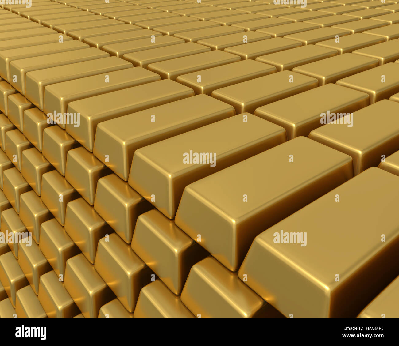 3D illustartion of thousands of gold bullion bars piled high representing enormous weath or assets. - Stock Image