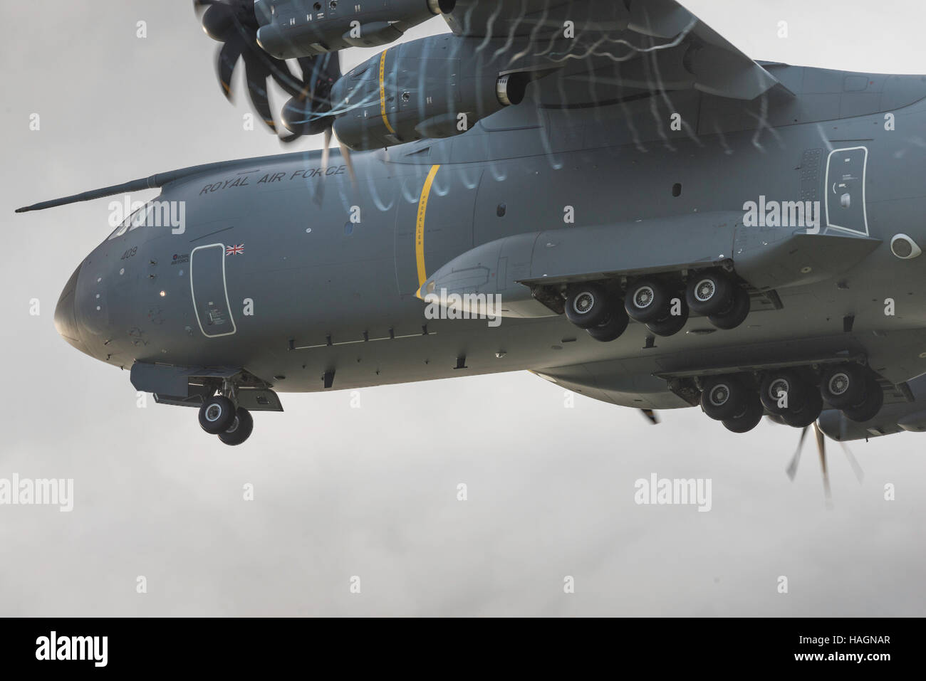 A400 Atlas Raf Valley Anglesey North Wales Uk wheels down. Royal Air Force. - Stock Image
