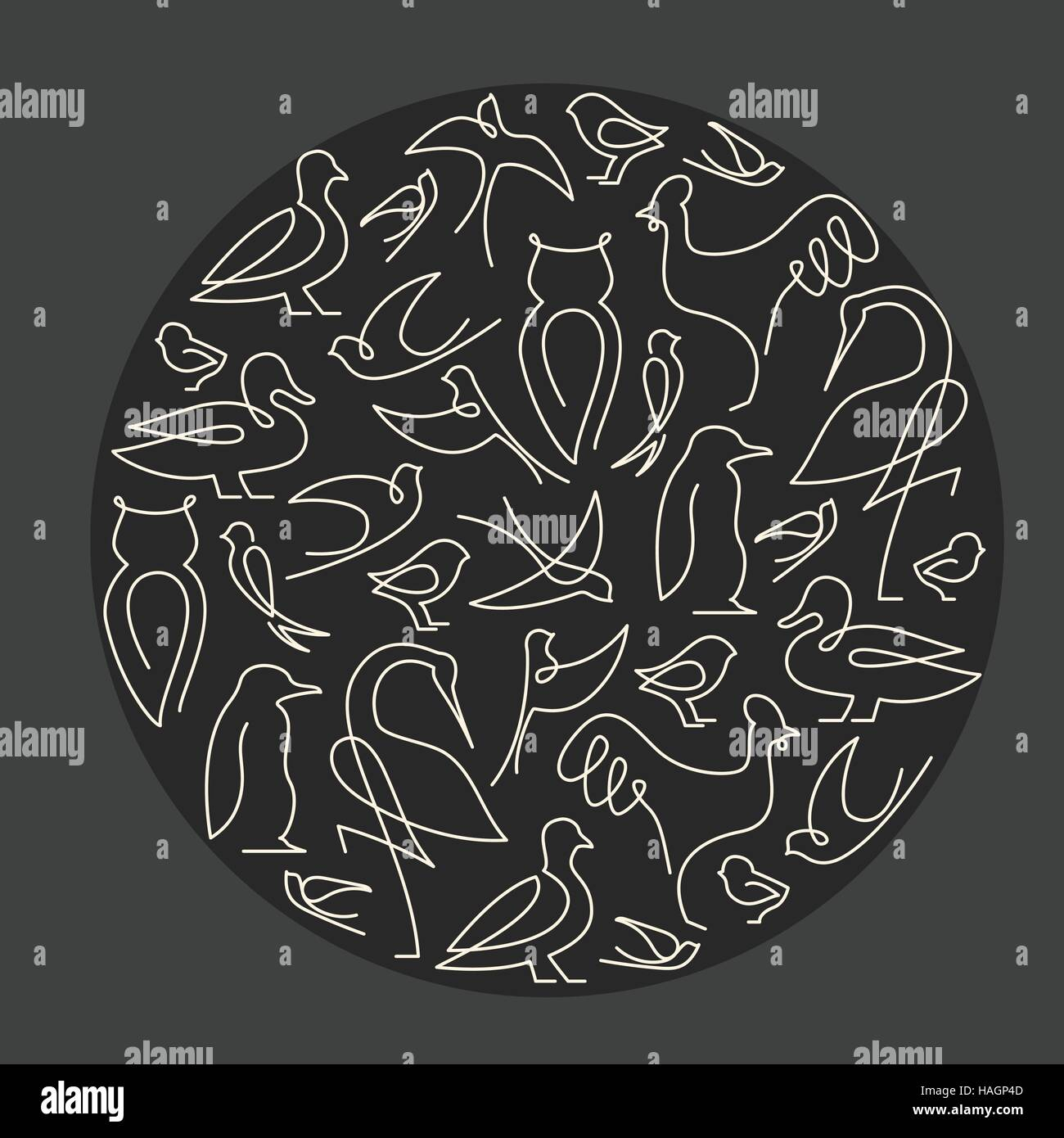 Round composition made of birds linear drawings - Stock Vector
