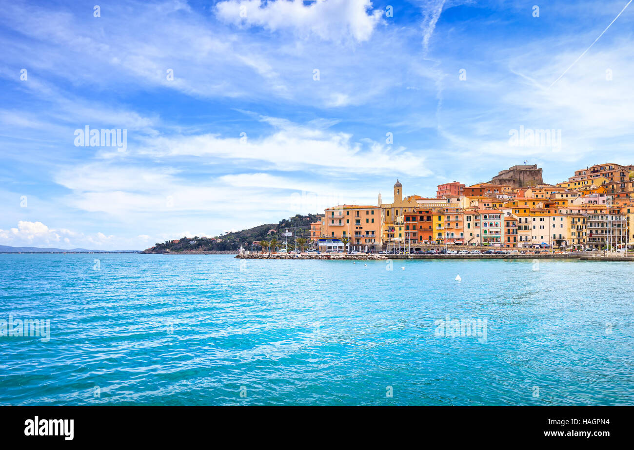 Porto Santo Stefano harbor seafront and village skyline., italian travel destination. Monte Argentario, Tuscany, - Stock Image