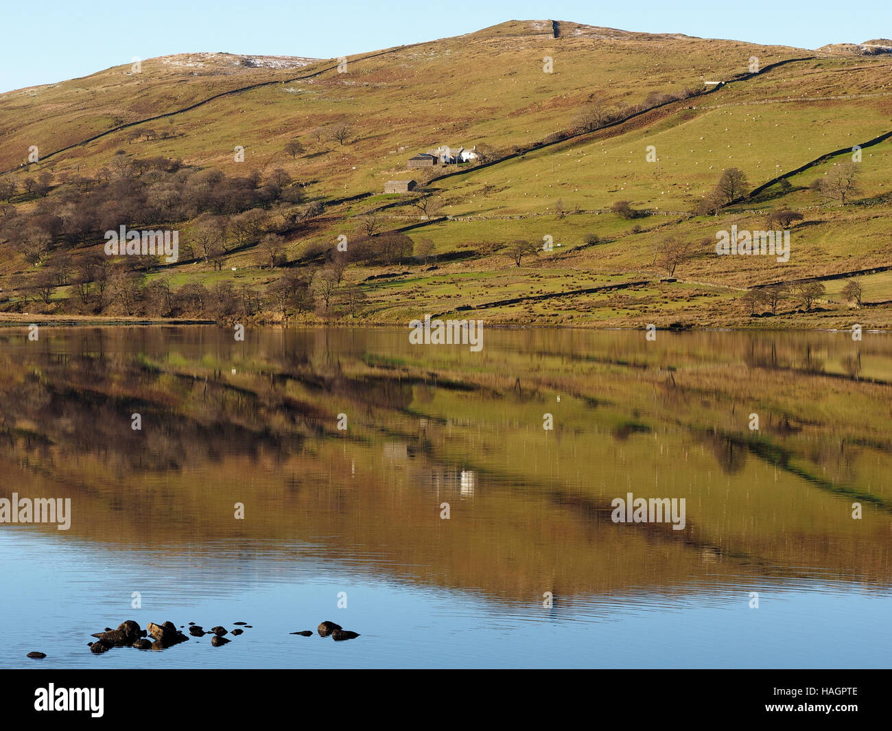 View & reflection of hills reservoir & Sleddale Hall (Crow Crag, Uncle Monty's Lake District cottage - Stock Image
