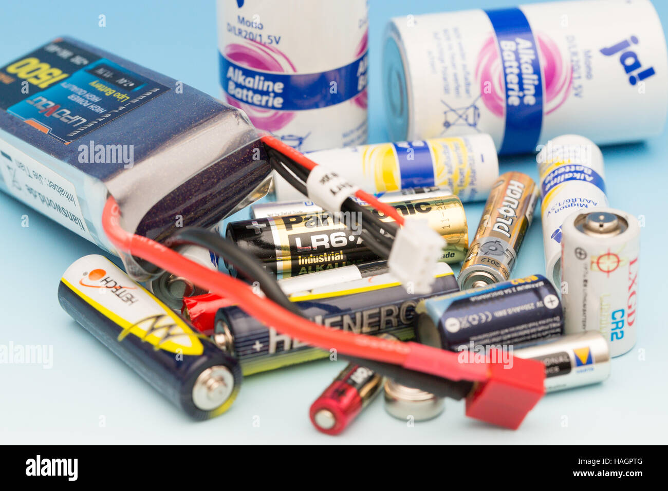 Frankfurt am Main, Germany- September, 24, 2013:  Used batteries and rechargeable batteries for recycling - Stock Image