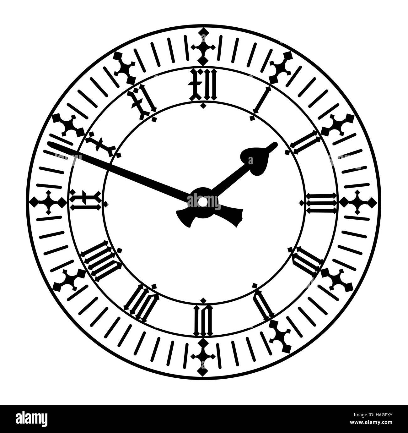 elegant roman numeral clock - Stock Image