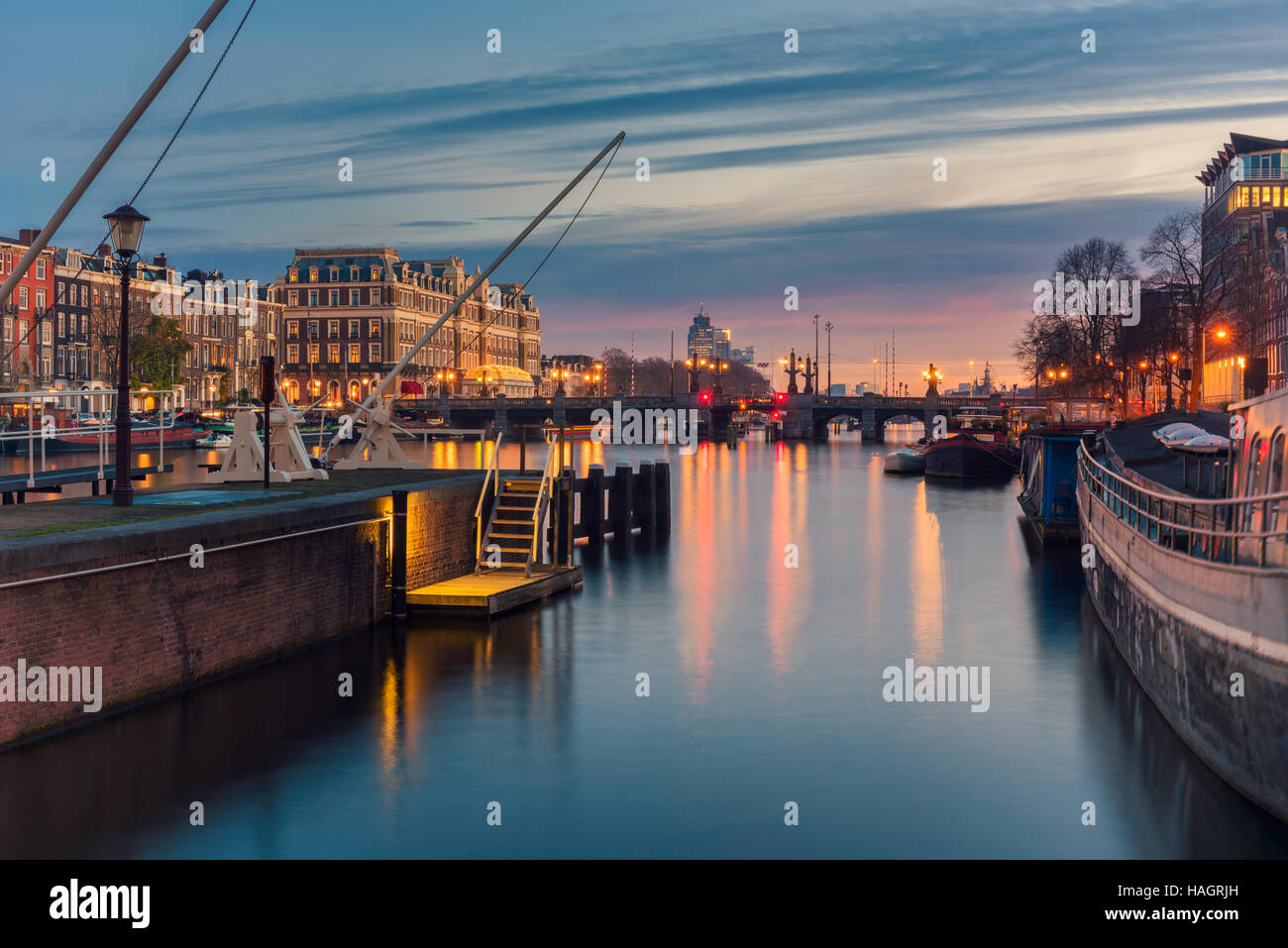 Amstel River and surroundings in Amsterdam Netherlands - Stock Image