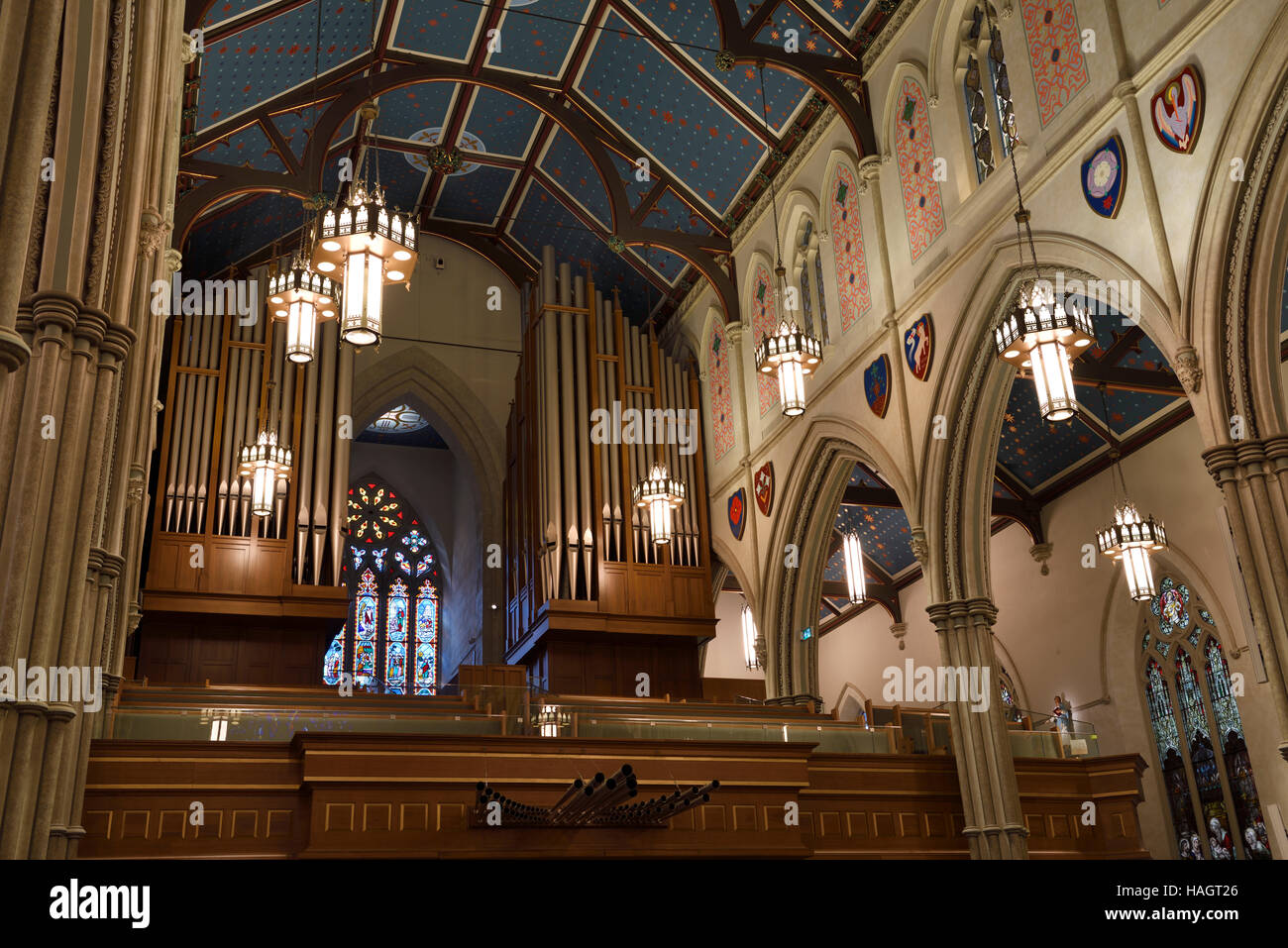 New pipe organ in the choir loft of St Michael's Cathedral Basilica Toronto - Stock Image