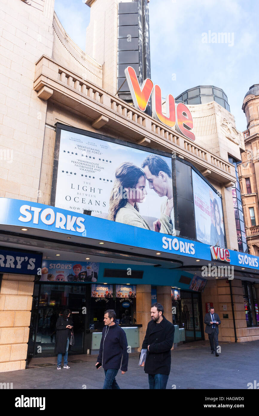Exterior view of the entrance to the Vue cinema in Leicester Square, London, UK - Stock Image