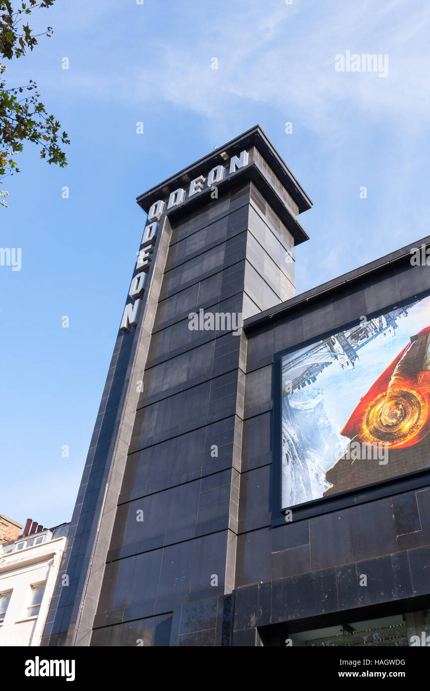 View of the Odeon cinema tower in Leicester Square, London, UK - Stock Image