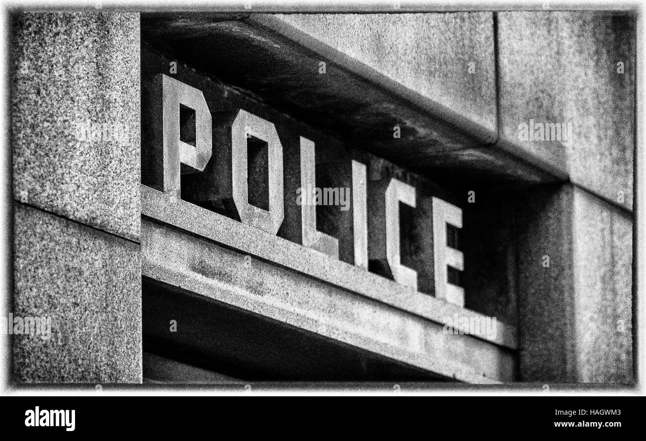 Stone Police Sign above doorway in London - Stock Image