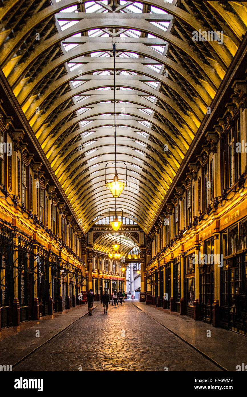 Leadenhall Market at night - Stock Image