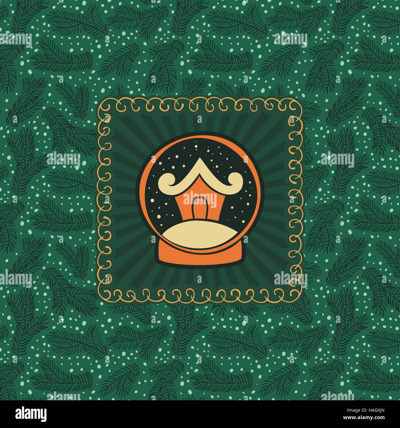 Christmas And New Year Vintage Ornate Frame With House In Snow Globe