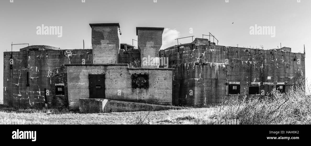 Deserted Costal Defence Building in Southend, Essex - Stock Image